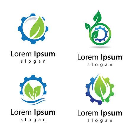 Eco tech logo design illustration