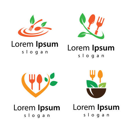 Vegetarian food logo images illustration design 向量圖像