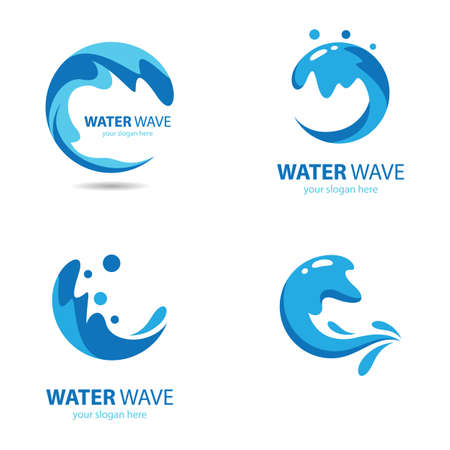Water wave logo images illustration design