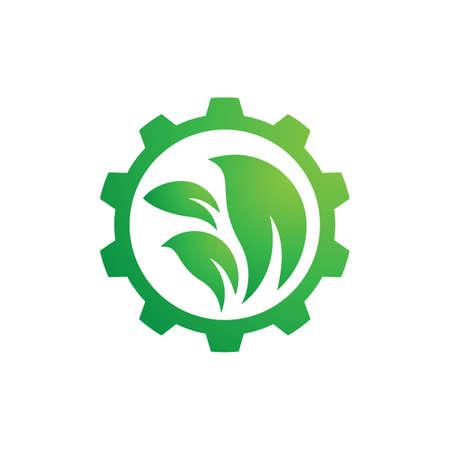 Natural gear logo design illustration