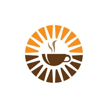 Morning coffee logo design illustration  イラスト・ベクター素材