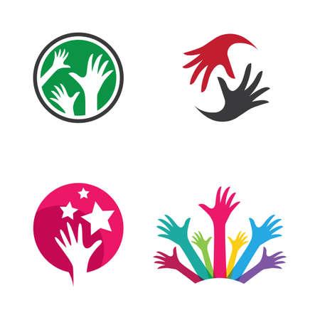 Hand logo images  illustration design