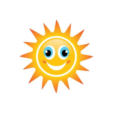 Sun smile emoticon logo images illustration design