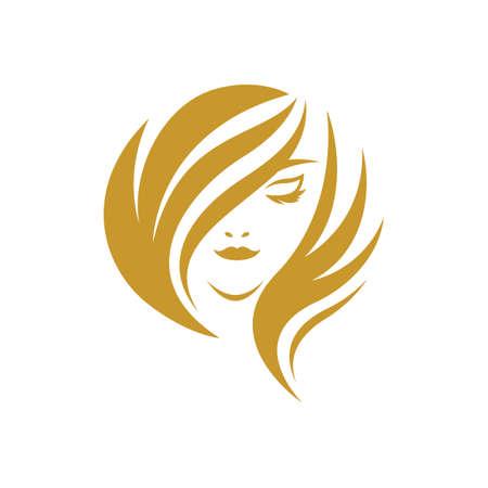 Beauty hair and salon logo images illustration design
