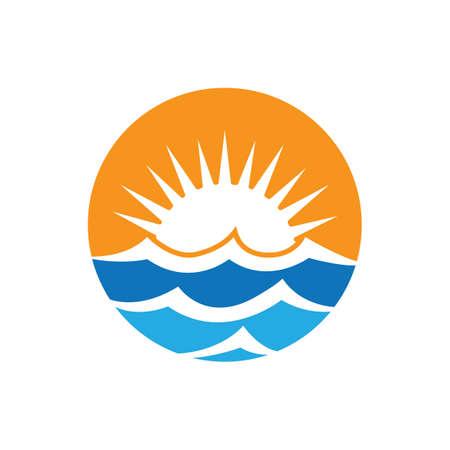 Sunset beach logo images illustration design 일러스트