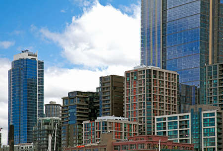 highriser: Office Buildings and modern apartments in Downtown Seattle Editorial