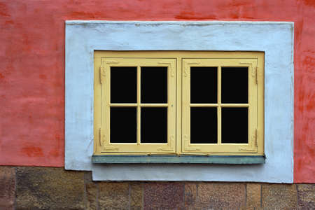 oldtown: Window in the Oldtown of Stockholm, Sweden Stock Photo