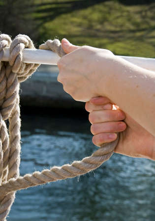 exertion: pull on a rope
