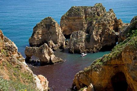 rocky coastline: Rocky coastline at the Algarve, Portugal