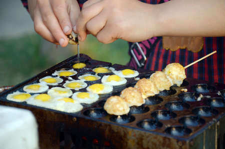quail egg: quail egg skewers Stock Photo