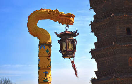 song dynasty: Kaifeng Tower Park, the Dragon street lamp and the tower of the local