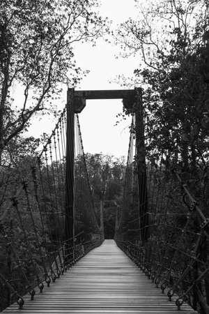 rope bridge: Old suspension rope bridge