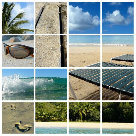 Collage of beach items and scenic views Stock Photo - 3630144