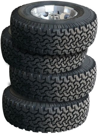 tyre tread: Stack of truck tires