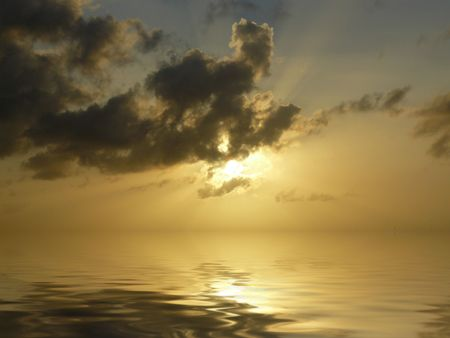 reflecting: Sunset with water