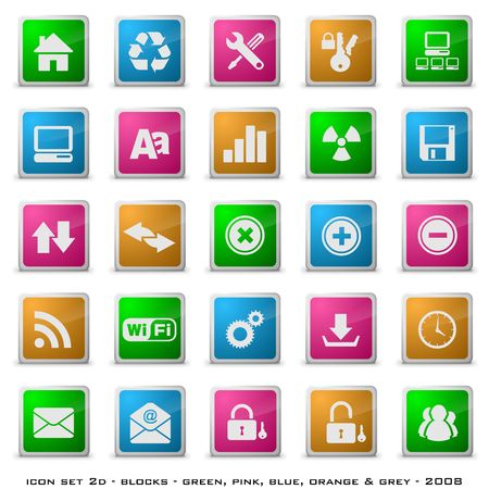 Web styled buttons including home, download, email etc Stock Photo - 3696946