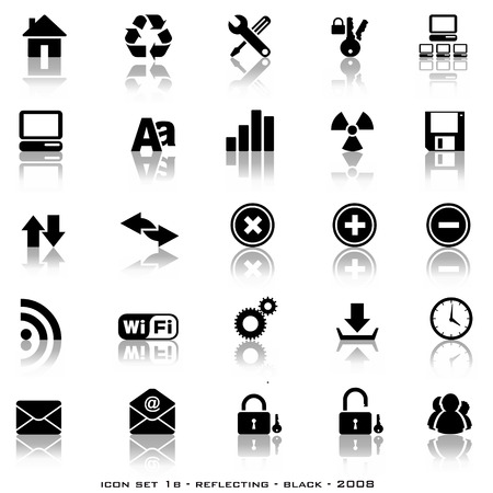 Various reflective web styled buttons including home, download, email etc Vector