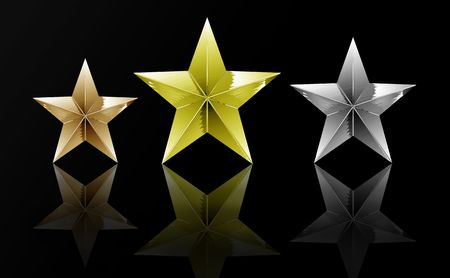 olympic symbol: Gold, Silver & Bronze reflecting stars with a black background