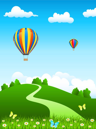 moody: hot air balloon and green landscape