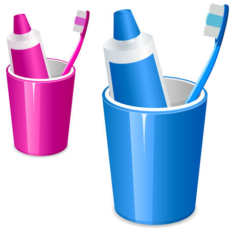 grooming product: Toothbrush and toothpaste Illustration