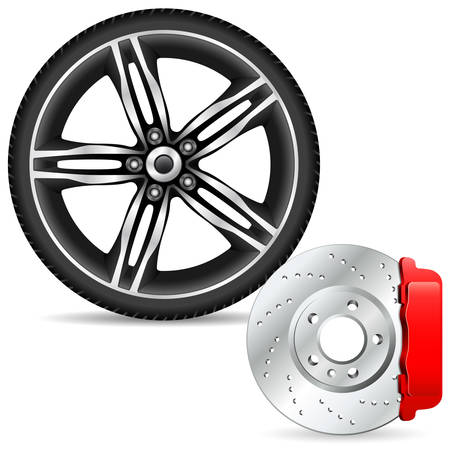 brake disc and alloy wheel