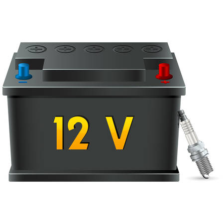 sparking plug: car battery and spark plug