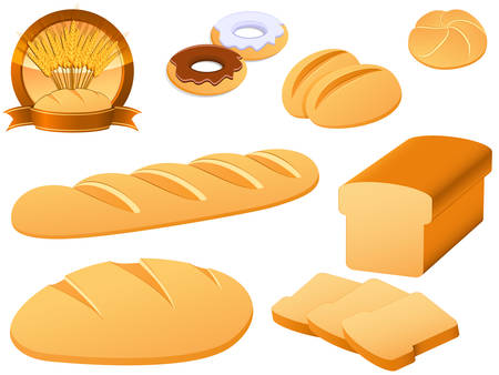 loaf of bread: bakery icon set