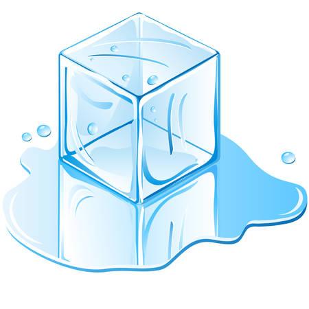 cubo de hielo  Ilustración de vector