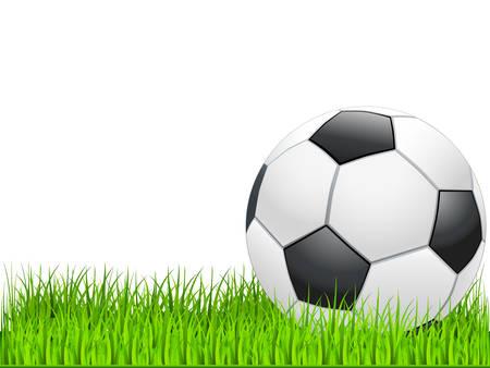 cancha de futbol: bal�n de f�tbol sobre c�sped verde