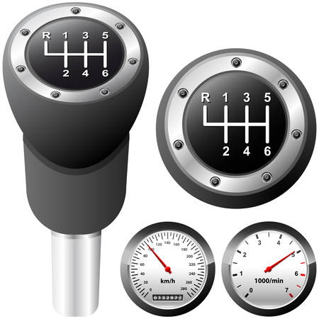 knobs: gearshift and car speedometer