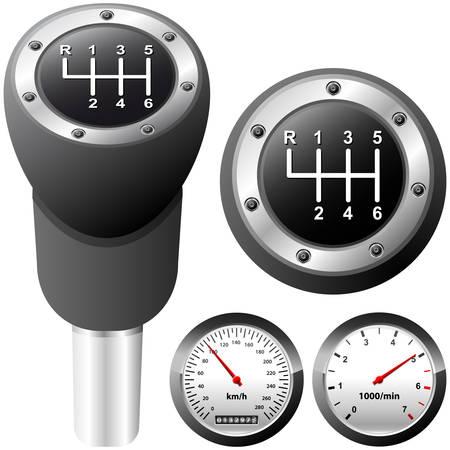 reversing: gearshift and car speedometer