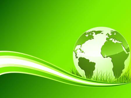 protect globe: green earth background