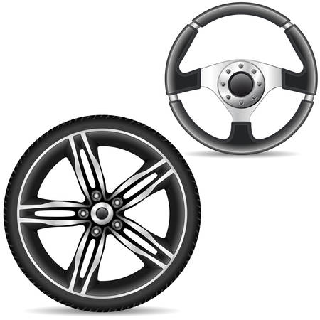 car wheel: steering wheel and car alloy rim