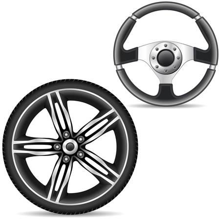 aluminio: volante y la llanta de aleaci�n de coche