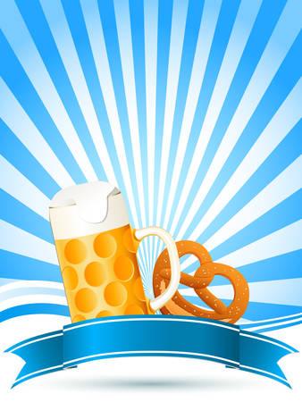 beer and pretzel Vector