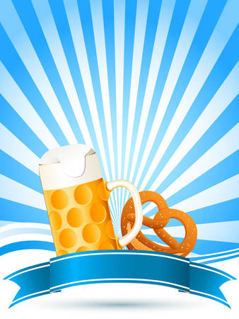 beer party: beer and pretzel Illustration