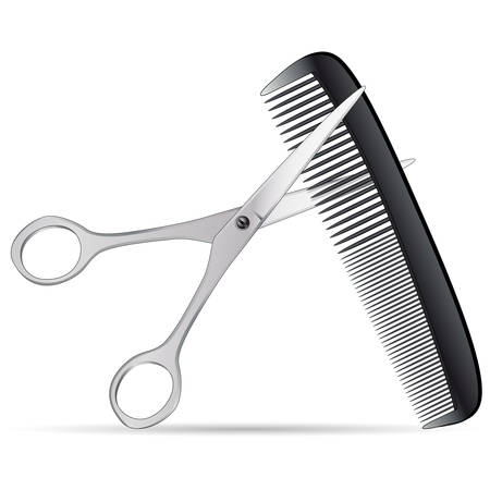 scissors: scissors and comb isolated on white background