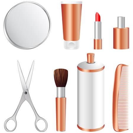 make up brush: conjunto de iconos de maquillaje  Vectores