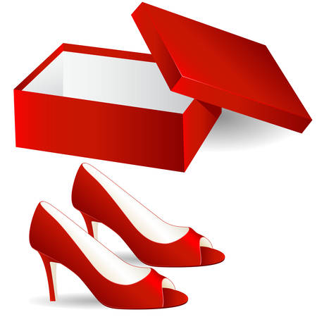shoe box and red high heels Stock Vector - 8145486