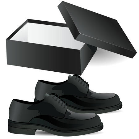office shoes: Mens shoes and shoe box  Illustration