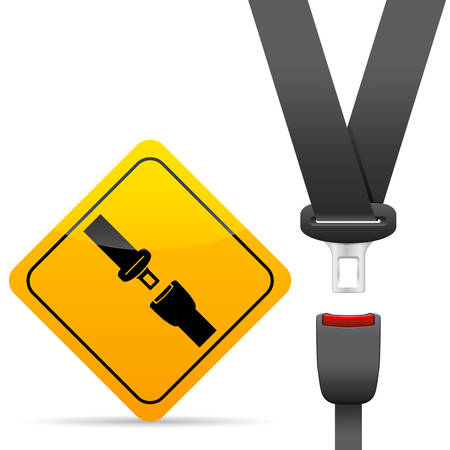 belt buckle: seat belt and warning sign