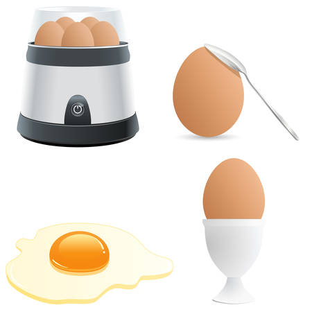 boiled eggs: egg icon set Illustration