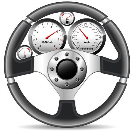 mileage: steering wheel and dashboard