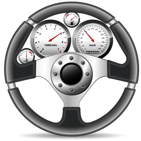 compteur de vitesse: volant et le tableau de bord  Illustration