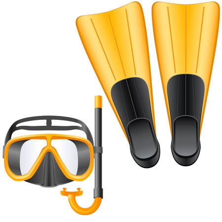 swims: diving equipment with snorkel, flippers and scuba mask
