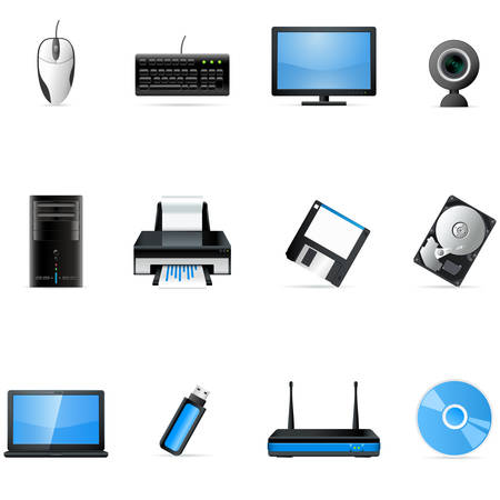 printers: computer hardware icons Illustration