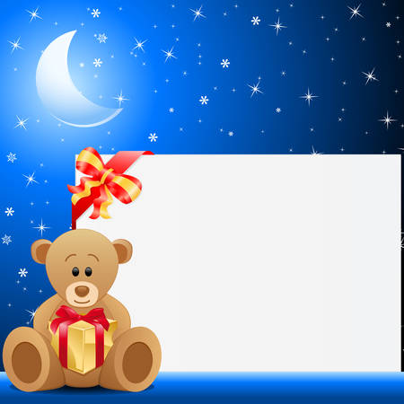 teddy bear christmas: teddy bear holding gift box and blue night background  Illustration