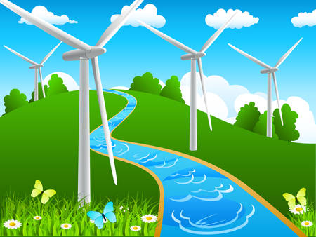 spinning windmill: landscape with river and windmills