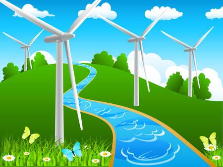 windmolen: landschap met rivier en wind molens