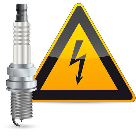electric automobile: spark plug and warning sign